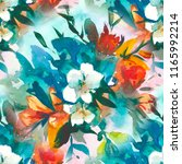watercolour floral seamless... | Shutterstock . vector #1165992214