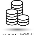 outline coins icon isolated on...