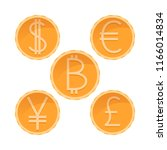 dollar  euro  yen  pound... | Shutterstock .eps vector #1166014834