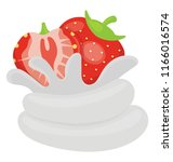 strawberry tart with the... | Shutterstock .eps vector #1166016574