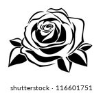 Stock vector black silhouette of rose vector illustration 116601751