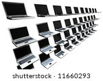 stack of laptops in rows and... | Shutterstock . vector #11660293