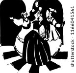 vector. three women dance.... | Shutterstock .eps vector #1166041561