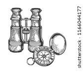 binoculars and compass...   Shutterstock .eps vector #1166044177