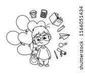 cute school kid ready to... | Shutterstock . vector #1166051434