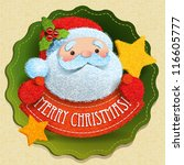 christmas card with santa claus ... | Shutterstock .eps vector #116605777