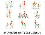parent and child doing sportive ... | Shutterstock .eps vector #1166080507