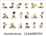 kids in financial business set... | Shutterstock .eps vector #1166080534