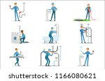 plumber and water supply...   Shutterstock .eps vector #1166080621