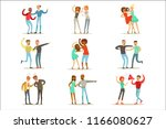 people fighting and quarrelling ... | Shutterstock .eps vector #1166080627