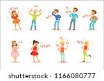 kids hysterically laughing out... | Shutterstock .eps vector #1166080777