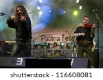Small photo of PADINA FEST, ROMANIA - AUGUST 2, 2012: Romanian rock band AD HOC performs on the main stage at Padina Fest festival in Romania on August 2, 2012.