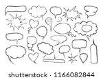 set of blank speech bubbles in... | Shutterstock .eps vector #1166082844