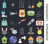 set of 25 icons such as fish... | Shutterstock .eps vector #1166096401