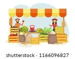 cartoon local farmer market... | Shutterstock .eps vector #1166096827