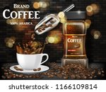 black coffee cup with splash... | Shutterstock .eps vector #1166109814
