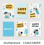 happy birthday  set of cute... | Shutterstock .eps vector #1166118694