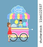 street cart with tasty sweet... | Shutterstock .eps vector #1166122537