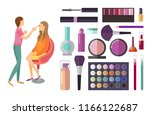 visage and makeup making beauty ... | Shutterstock .eps vector #1166122687