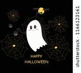 happy halloween card  white...   Shutterstock .eps vector #1166123161