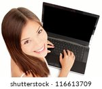 Laptop woman. Woman using laptop computer pc with copy space on screen. Isolated on white background. Beautiful mixed-race Asian Chinese / Caucasian female businesswoman. - stock photo