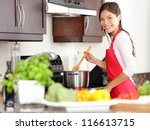 cooking woman in kitchen... | Shutterstock . vector #116613715