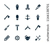 sharp icon. collection of 16... | Shutterstock .eps vector #1166138701