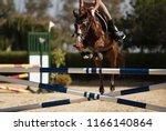 jockey on her horse leaping...   Shutterstock . vector #1166140864