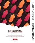 autumn background with leaves.... | Shutterstock .eps vector #1166142184