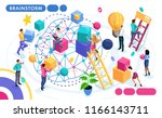 isometric concept of teamwork ... | Shutterstock .eps vector #1166143711