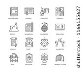 set of 16 simple line icons... | Shutterstock .eps vector #1166155627