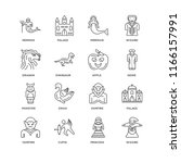 set of 16 simple line icons... | Shutterstock .eps vector #1166157991