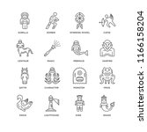 set of 16 simple line icons... | Shutterstock .eps vector #1166158204