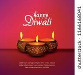happy diwali with three candle | Shutterstock .eps vector #1166168041