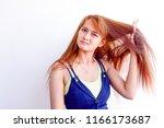 closeup portrait of female...   Shutterstock . vector #1166173687