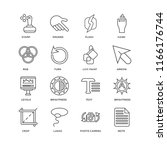 set of 16 simple line icons... | Shutterstock .eps vector #1166176744