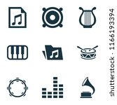 multimedia icons set with piano ... | Shutterstock .eps vector #1166193394