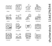 set of 16 simple line icons...   Shutterstock .eps vector #1166196544
