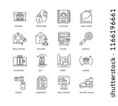 set of 16 simple line icons... | Shutterstock .eps vector #1166196661