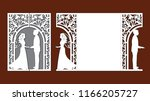 laser cut template of wedding... | Shutterstock .eps vector #1166205727