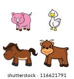 farm animal set.pig.duck.horse... | Shutterstock .eps vector #116621791