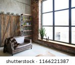 brutal interior in a dark brown ... | Shutterstock . vector #1166221387