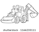 cartoon funny vector excavator  ... | Shutterstock .eps vector #1166233111