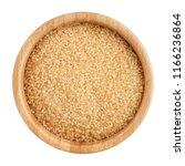 brown refined sugar in wooden... | Shutterstock . vector #1166236864
