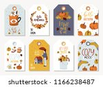set of autumnal card for... | Shutterstock .eps vector #1166238487