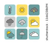 weather flat vector icons set | Shutterstock .eps vector #1166238694