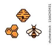 yellow bee vector icon  bee... | Shutterstock .eps vector #1166243431