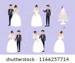 just married   newlyweds  bride ... | Shutterstock .eps vector #1166257714