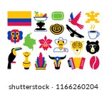 vector set of colombia icons... | Shutterstock .eps vector #1166260204