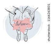 autumn fall card hands leave... | Shutterstock . vector #1166263831